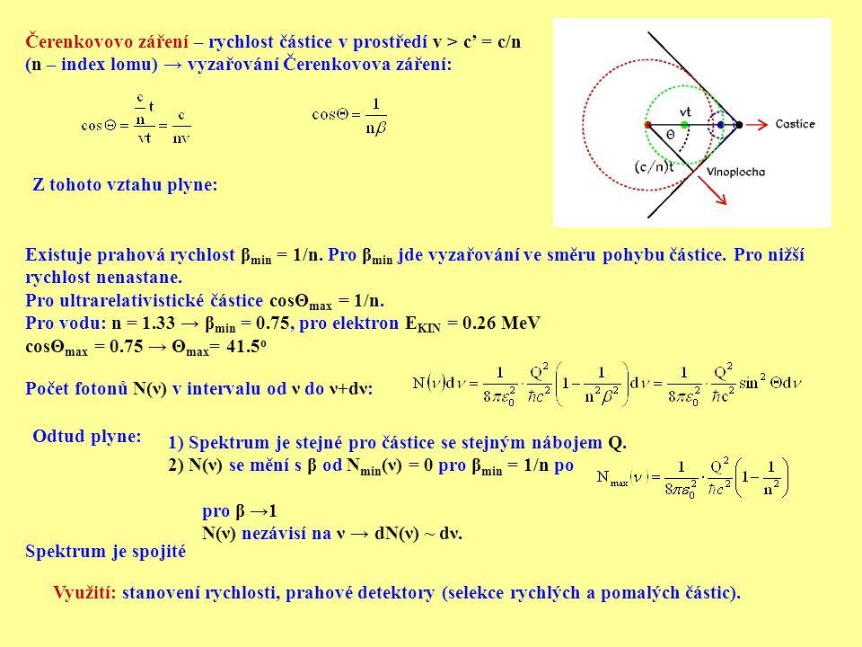 Čerenkovovo záření – rychlost částice v prostředí v > c' = c/n (n – index lomu) → vyzařování Čerenkovova záření: Z tohoto vztahu plyne: Existuje praho