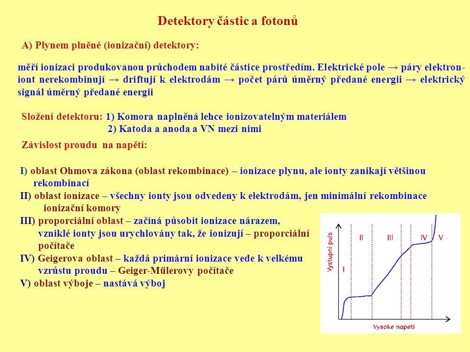 Detektory částic a fotonů A) Plynem plněné (ionizační) detektory: měří ionizaci produkovanou průchodem nabité částice prostředím. Elektrické pole → pá