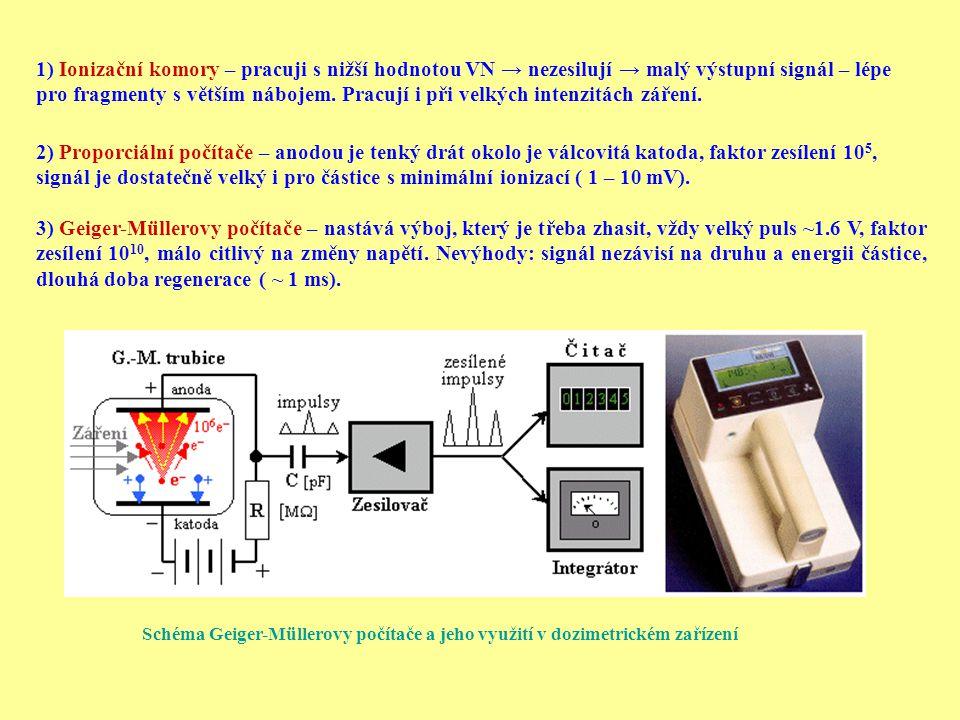 1) Ionizační komory – pracuji s nižší hodnotou VN → nezesilují → malý výstupní signál – lépe pro fragmenty s větším nábojem. Pracují i při velkých int