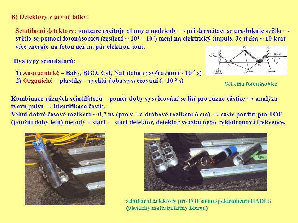 B) Detektory z pevné látky: Scintilační detektory: ionizace excituje atomy a molekuly → při deexcitaci se produkuje světlo → světlo se pomocí fotonáso