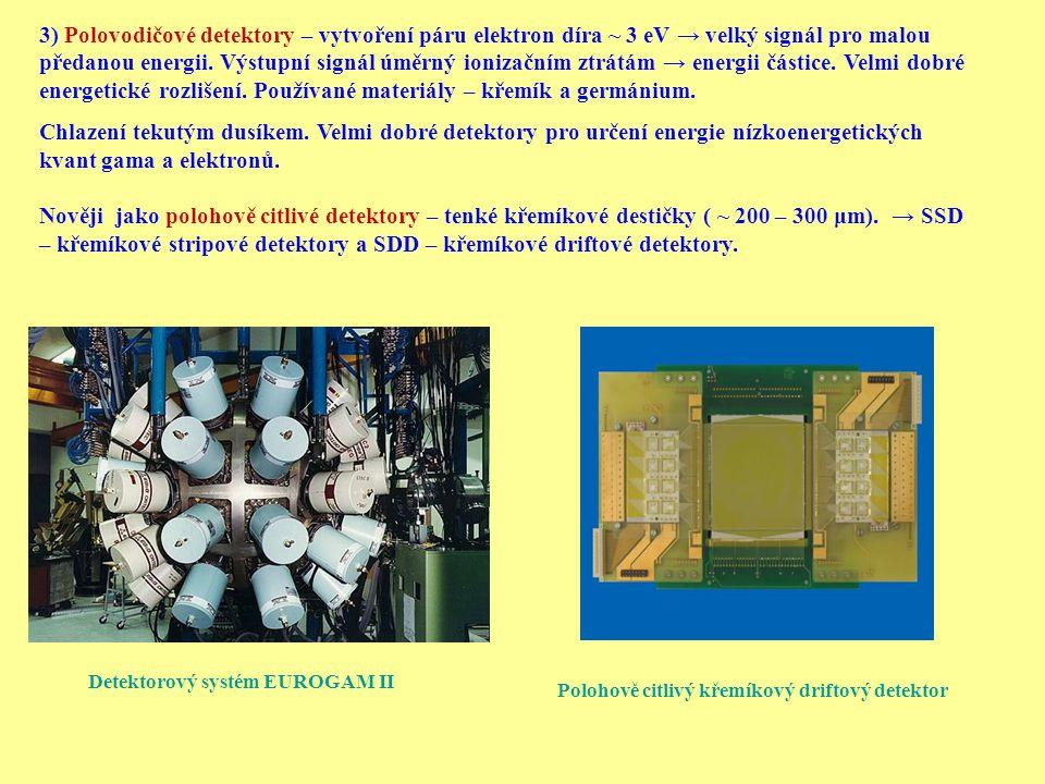 3) Polovodičové detektory – vytvoření páru elektron díra ~ 3 eV → velký signál pro malou předanou energii. Výstupní signál úměrný ionizačním ztrátám →
