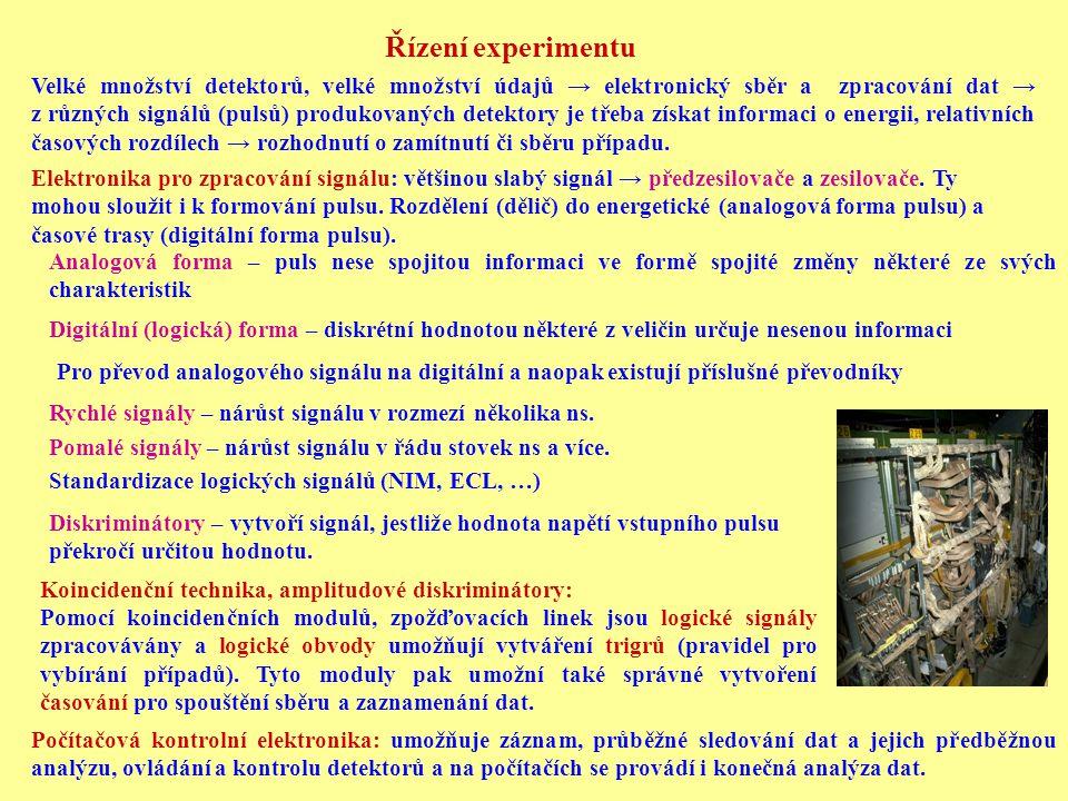 Řízení experimentu Velké množství detektorů, velké množství údajů → elektronický sběr a zpracování dat → z různých signálů (pulsů) produkovaných detek