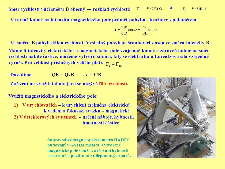 Směr rychlosti vůči směru B obecný → rozklad rychlosti: a V rovině kolmé na intenzitu magnetického pole průmět pohybu - kružnice s poloměrem: Ve směru
