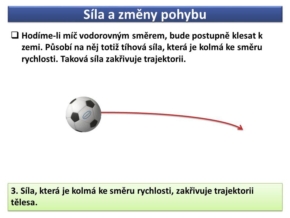 Síla a změny pohybu  Hodíme-li míč vodorovným směrem, bude postupně klesat k zemi.
