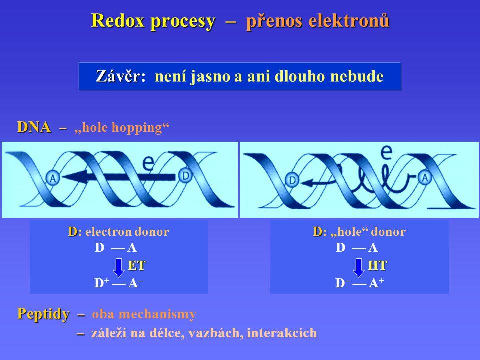 """Redox procesy – přenos elektronů Závěr Závěr: není jasno a ani dlouho nebude DNA – DNA – """"hole hopping Peptidy – Peptidy – oba mechanismy – – záleží na délce, vazbách, interakcích D D: """"hole donor D — A + HT D – — A + D D: electron donor D — A – ET D + — A –"""