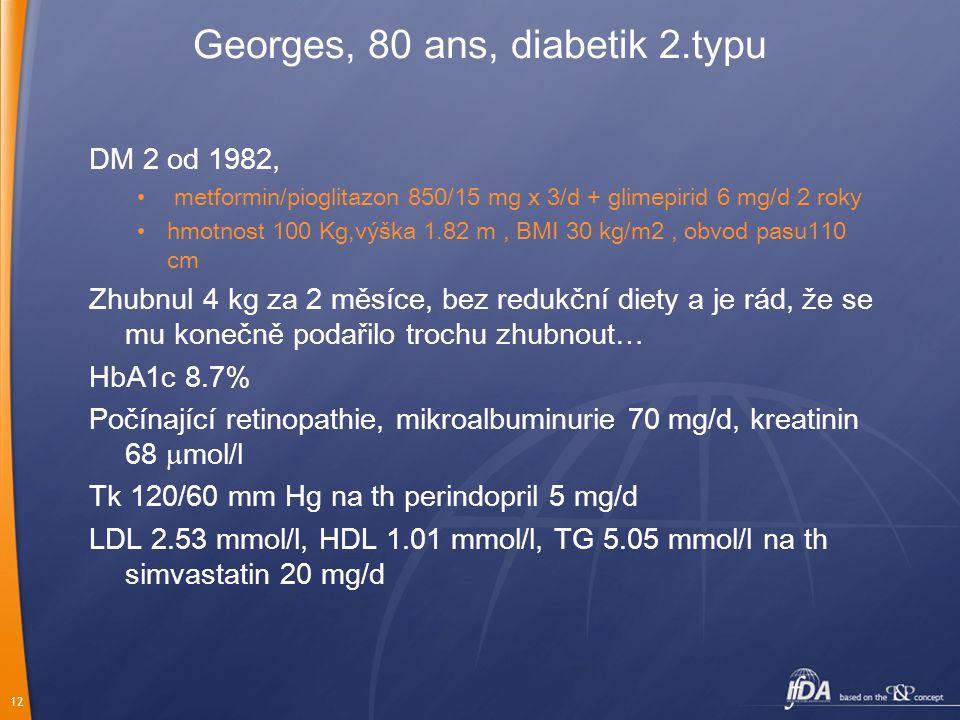 12 Georges, 80 ans, diabetik 2.typu DM 2 od 1982, metformin/pioglitazon 850/15 mg x 3/d + glimepirid 6 mg/d 2 roky hmotnost 100 Kg,výška 1.82 m, BMI 30 kg/m2, obvod pasu110 cm Zhubnul 4 kg za 2 měsíce, bez redukční diety a je rád, že se mu konečně podařilo trochu zhubnout… HbA1c 8.7% Počínající retinopathie, mikroalbuminurie 70 mg/d, kreatinin 68  mol/l Tk 120/60 mm Hg na th perindopril 5 mg/d LDL 2.53 mmol/l, HDL 1.01 mmol/l, TG 5.05 mmol/l na th simvastatin 20 mg/d