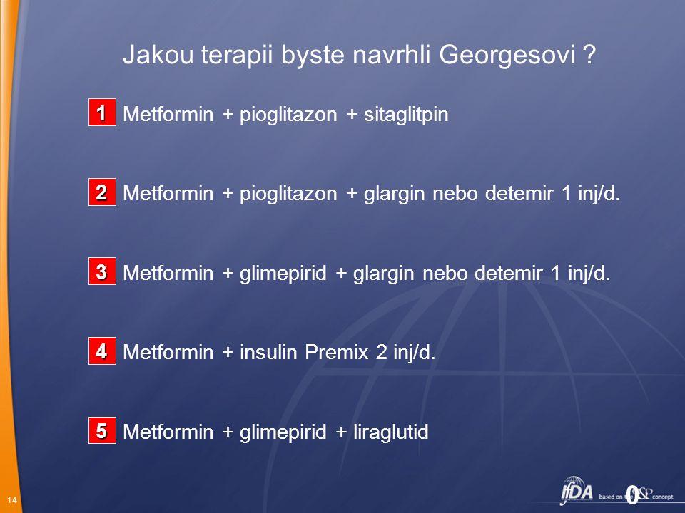 14 Jakou terapii byste navrhli Georgesovi ? Metformin + glimepirid + liraglutid Metformin + insulin Premix 2 inj/d. Metformin + glimepirid + glargin n