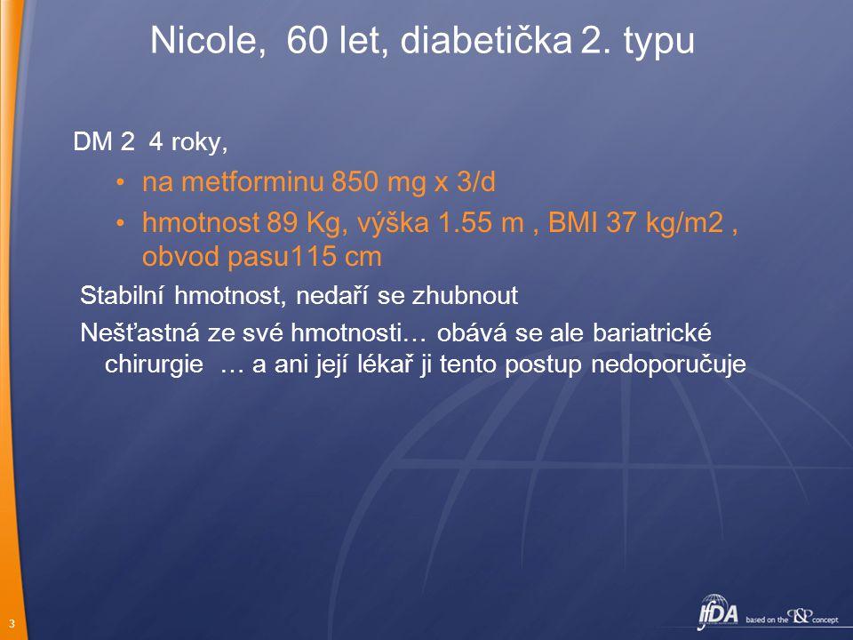 3 DM 2 4 roky, na metforminu 850 mg x 3/d hmotnost 89 Kg, výška 1.55 m, BMI 37 kg/m2, obvod pasu115 cm Stabilní hmotnost, nedaří se zhubnout Nešťastná ze své hmotnosti… obává se ale bariatrické chirurgie … a ani její lékař ji tento postup nedoporučuje Nicole, 60 let, diabetička 2.