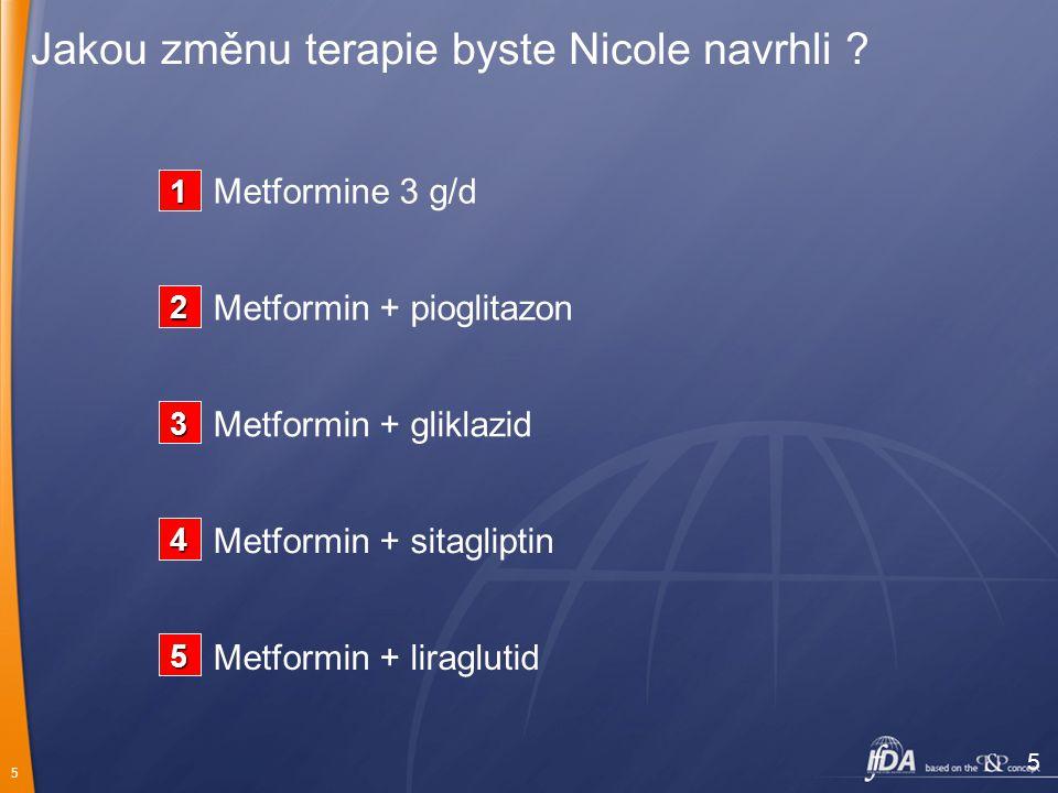 5 Jakou změnu terapie byste Nicole navrhli ? 5 Metformin + liraglutid Metformin + sitagliptin Metformin + gliklazid Metformin + pioglitazon Metformine