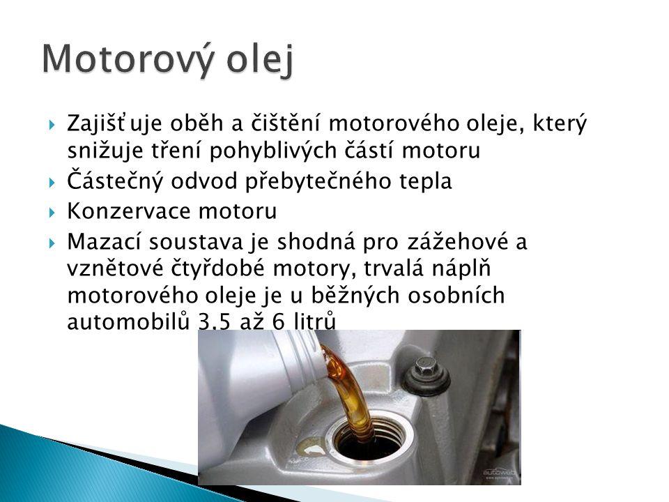  Zajišťuje oběh a čištění motorového oleje, který snižuje tření pohyblivých částí motoru  Částečný odvod přebytečného tepla  Konzervace motoru  Mazací soustava je shodná pro zážehové a vznětové čtyřdobé motory, trvalá náplň motorového oleje je u běžných osobních automobilů 3,5 až 6 litrů