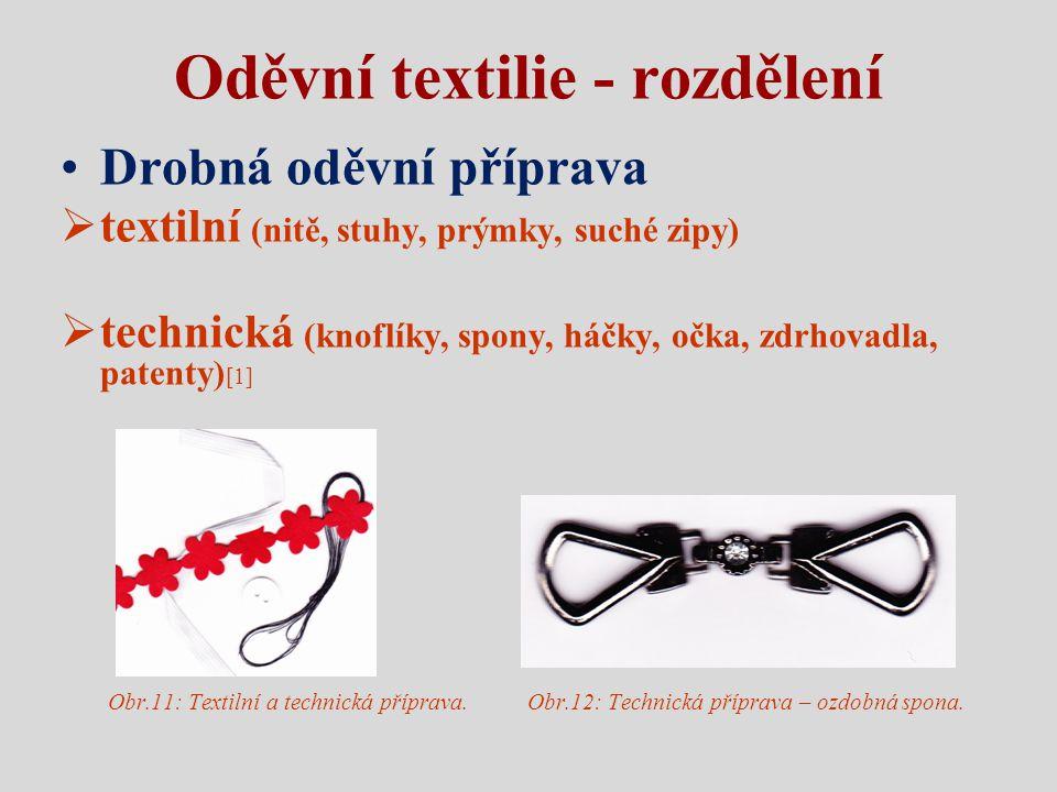 Oděvní textilie - rozdělení Drobná oděvní příprava  textilní (nitě, stuhy, prýmky, suché zipy)  technická (knoflíky, spony, háčky, očka, zdrhovadla,