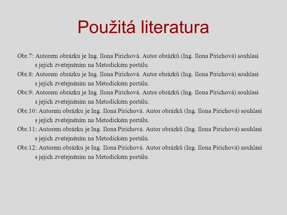 Použitá literatura Obr.7: Autorem obrázku je Ing. Ilona Pirichová. Autor obrázků (Ing. Ilona Pirichová) souhlasí s jejich zveřejněním na Metodickém po