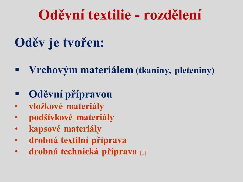 Oděvní textilie - rozdělení Oděv je tvořen:  Vrchovým materiálem (tkaniny, pleteniny)  Oděvní přípravou vložkové materiály podšívkové materiály kaps