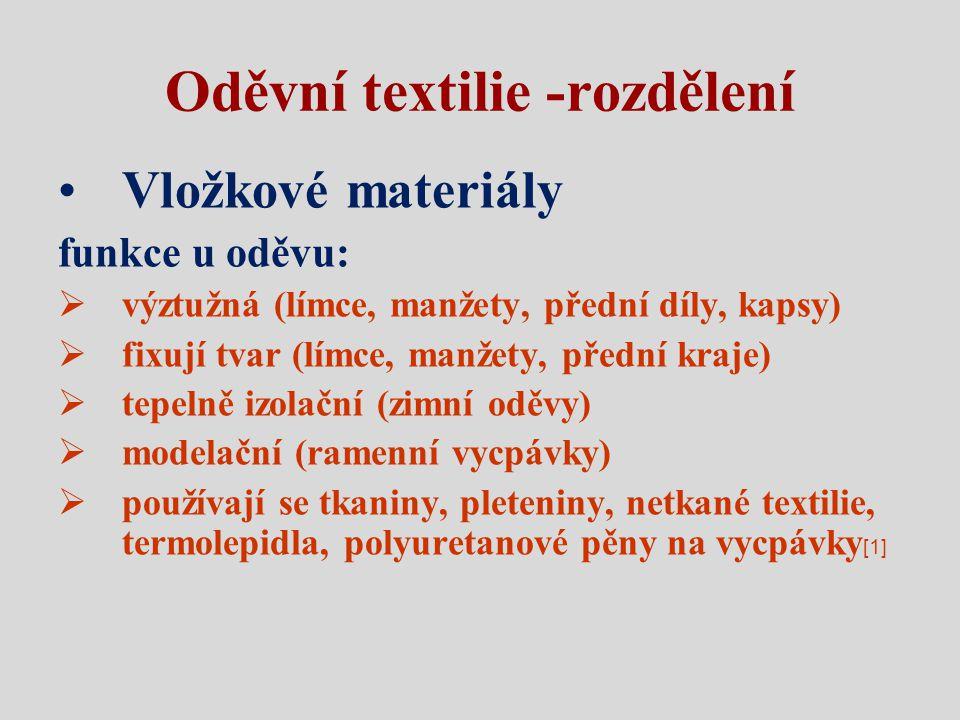 Oděvní textilie -rozdělení Vložkové materiály funkce u oděvu:  výztužná (límce, manžety, přední díly, kapsy)  fixují tvar (límce, manžety, přední kr