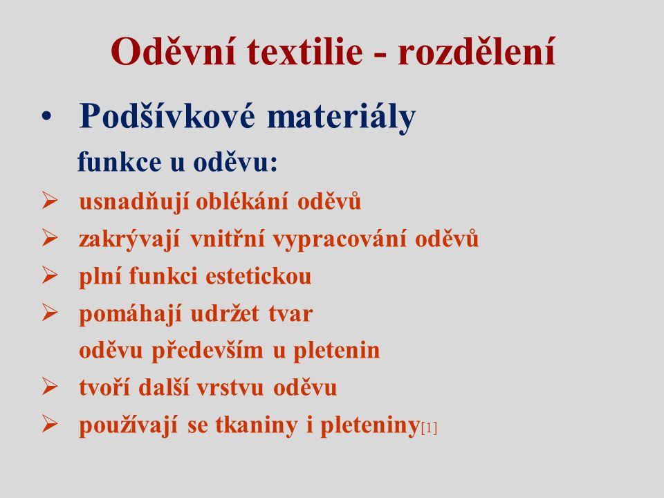 Oděvní textilie - rozdělení Podšívkové materiály funkce u oděvu:  usnadňují oblékání oděvů  zakrývají vnitřní vypracování oděvů  plní funkci esteti