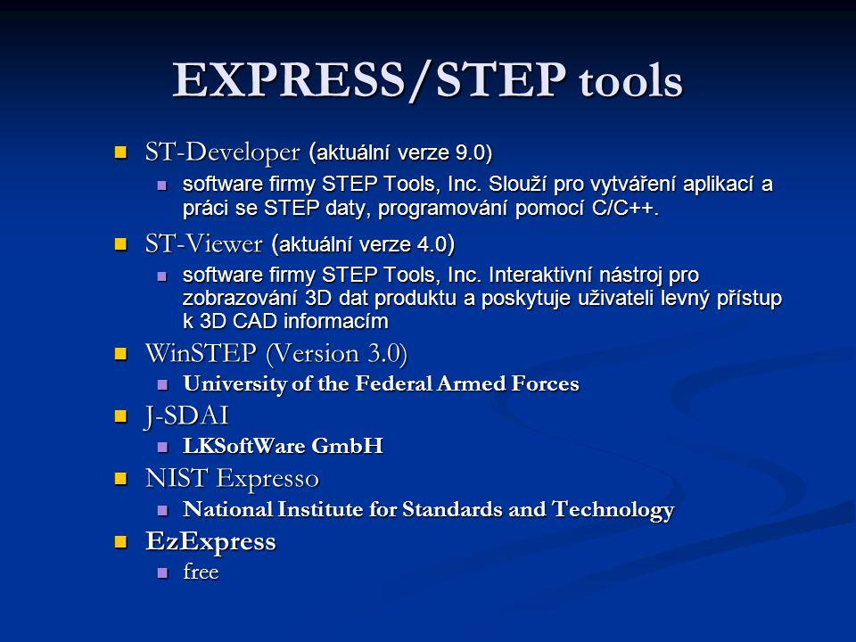 Vývojové nástroje 1) Nástroje k modelování informací poskytují rychlou definici produktových modelů pomocí jazyka EXPRESS, který je základem STEPu. 2)