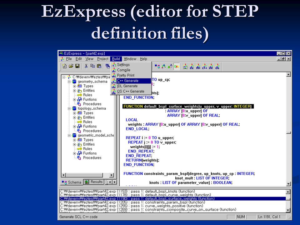 EXPRESS/STEP tools ST-Developer ( aktuální verze 9.0) ST-Developer ( aktuální verze 9.0) software firmy STEP Tools, Inc. Slouží pro vytváření aplikací