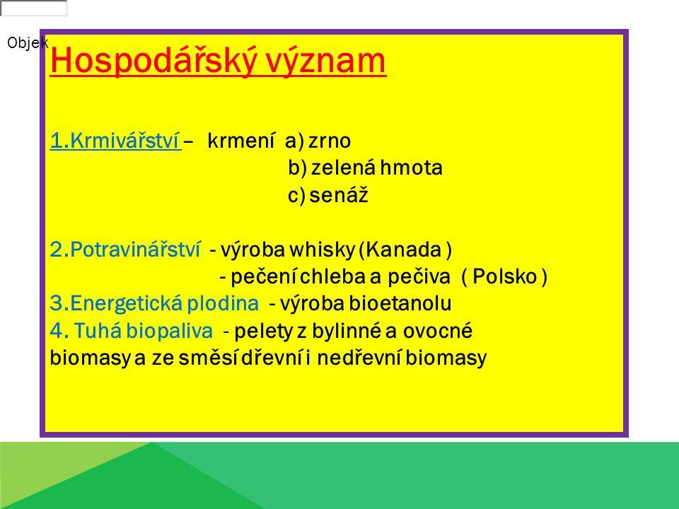 Hospodářský význam 1.Krmivářství – krmení a) zrno b) zelená hmota c) senáž 2.Potravinářství - výroba whisky (Kanada ) - pečení chleba a pečiva ( Polsk