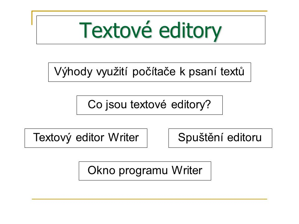 Textové editory Výhody využití počítače k psaní textů Co jsou textové editory.