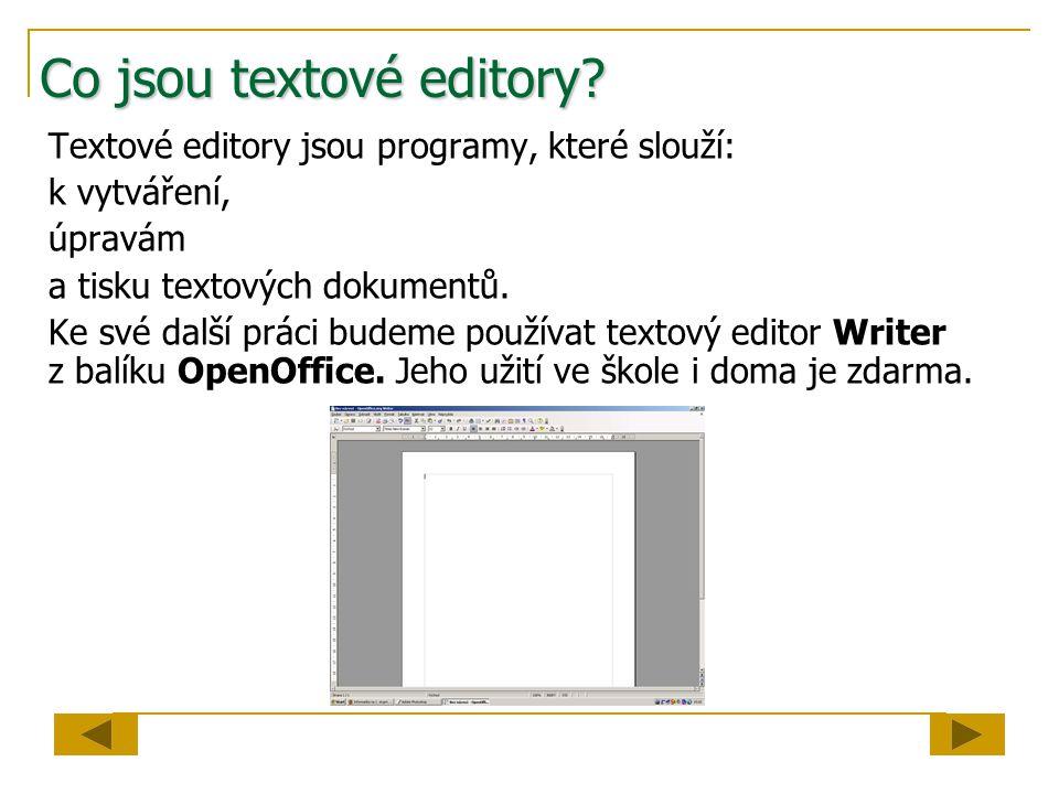 Co jsou textové editory.