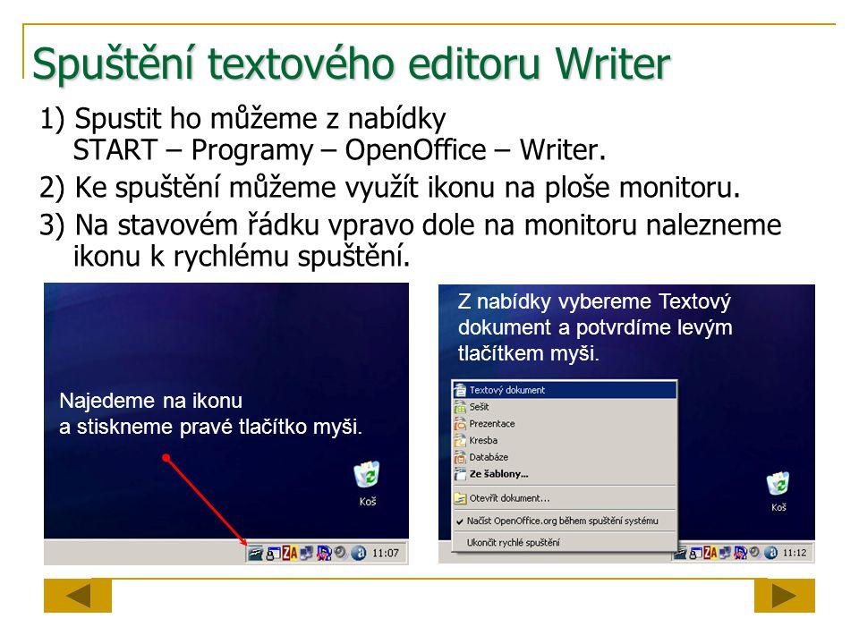 Spuštění textového editoru Writer 1) Spustit ho můžeme z nabídky START – Programy – OpenOffice – Writer.