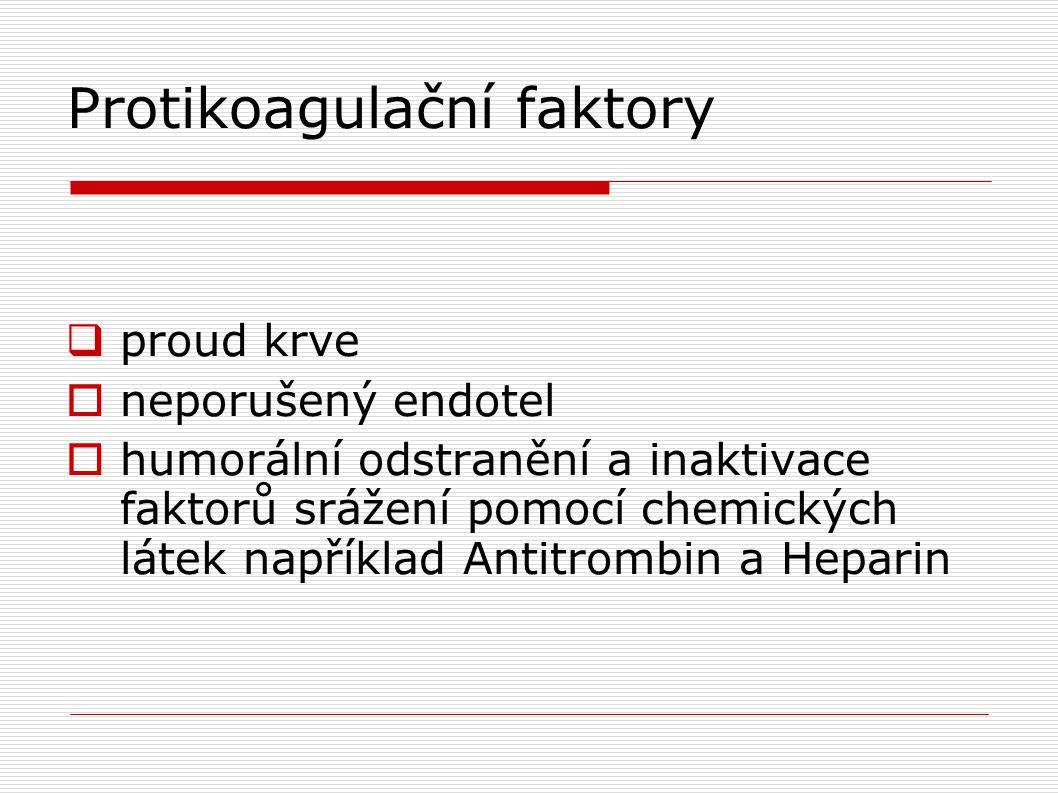 Protikoagulační faktory  proud krve  neporušený endotel  humorální odstranění a inaktivace faktorů srážení pomocí chemických látek například Antitr