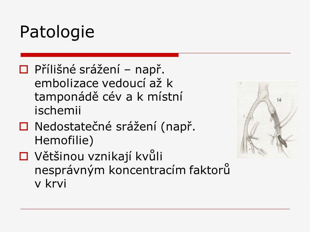 Patologie  Přílišné srážení – např. embolizace vedoucí až k tamponádě cév a k místní ischemii  Nedostatečné srážení (např. Hemofilie)  Většinou vzn