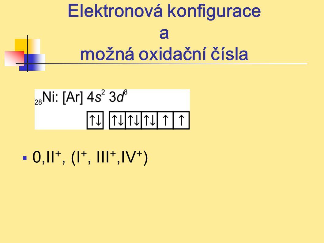 Elektronová konfigurace a možná oxidační čísla  0,II +, (I +, III +,IV + )