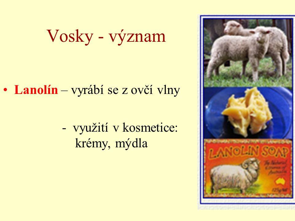 Vosky - význam Lanolín – vyrábí se z ovčí vlny - využití v kosmetice: krémy, mýdla