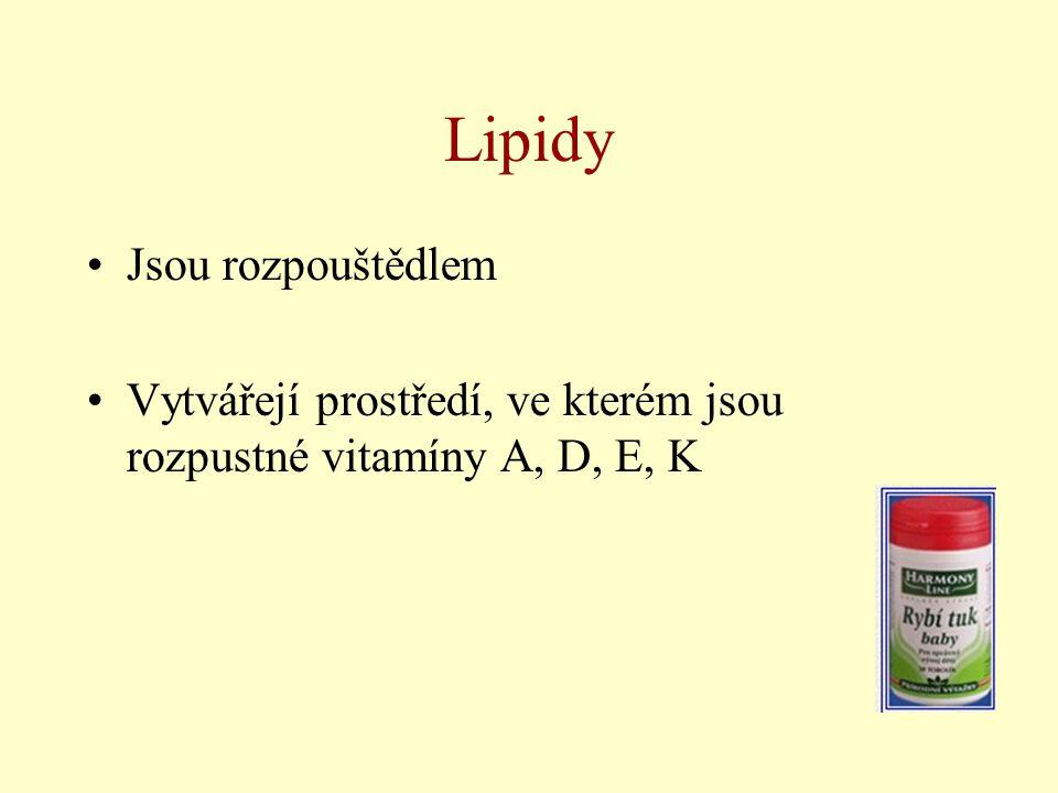 Lipidy Jsou rozpouštědlem Vytvářejí prostředí, ve kterém jsou rozpustné vitamíny A, D, E, K