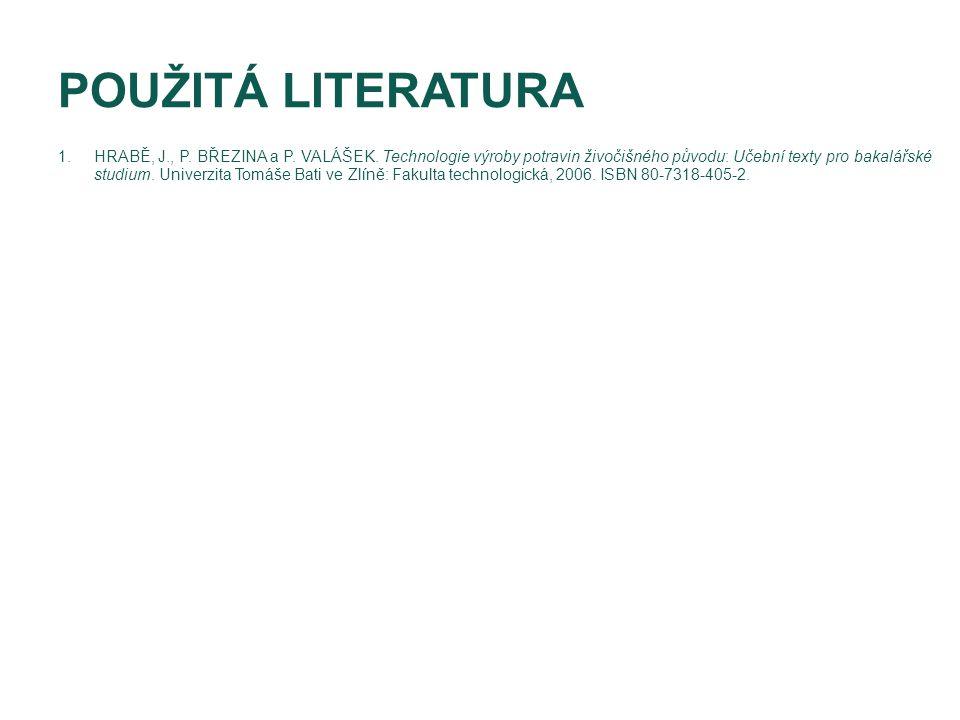 POUŽITÁ LITERATURA 1.HRABĚ, J., P. BŘEZINA a P. VALÁŠEK. Technologie výroby potravin živočišného původu: Učební texty pro bakalářské studium. Univerzi