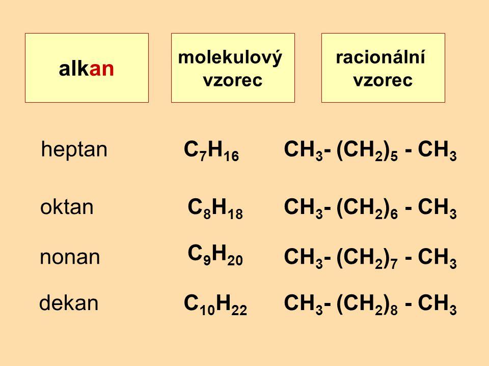 racionální vzorec alkan molekulový vzorec heptan oktan nonan dekan C 7 H 16 C 8 H 18 C 9 H 20 C 10 H 22 CH 3 - (CH 2 ) 7 - CH 3 CH 3 - (CH 2 ) 8 - CH