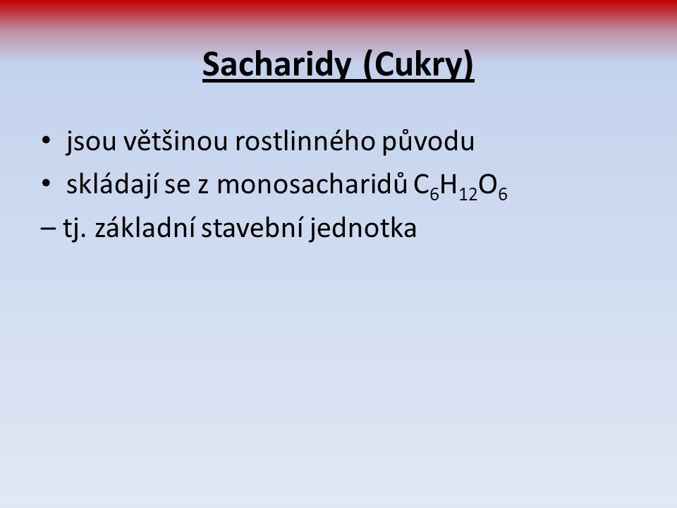 Sacharidy (Cukry) jsou většinou rostlinného původu skládají se z monosacharidů C 6 H 12 O 6 – tj. základní stavební jednotka