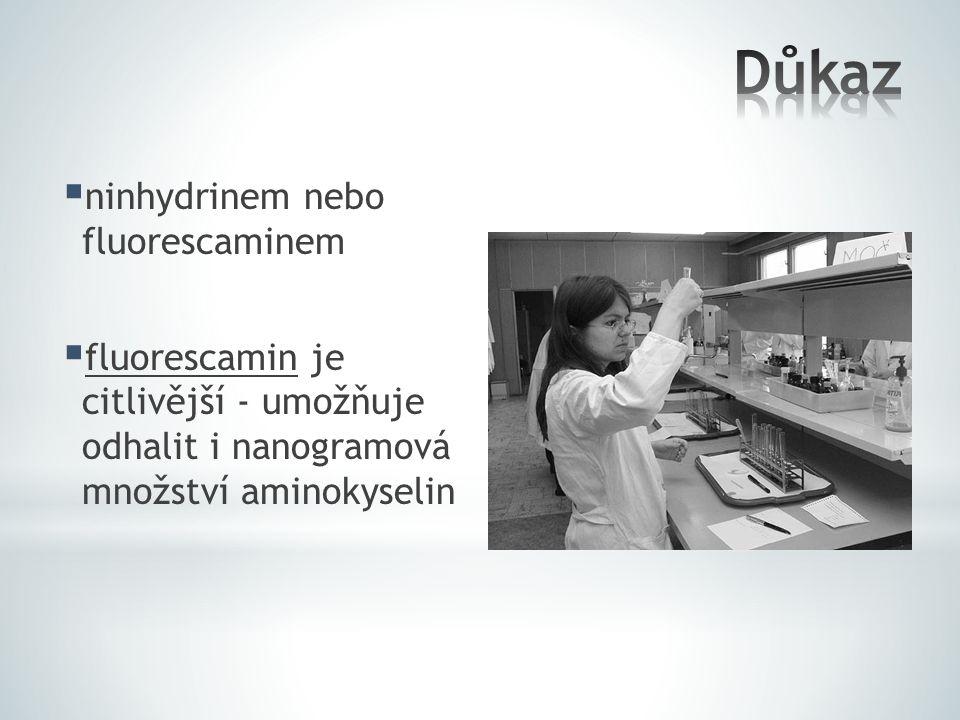  ninhydrinem nebo fluorescaminem  fluorescamin je citlivější - umožňuje odhalit i nanogramová množství aminokyselin
