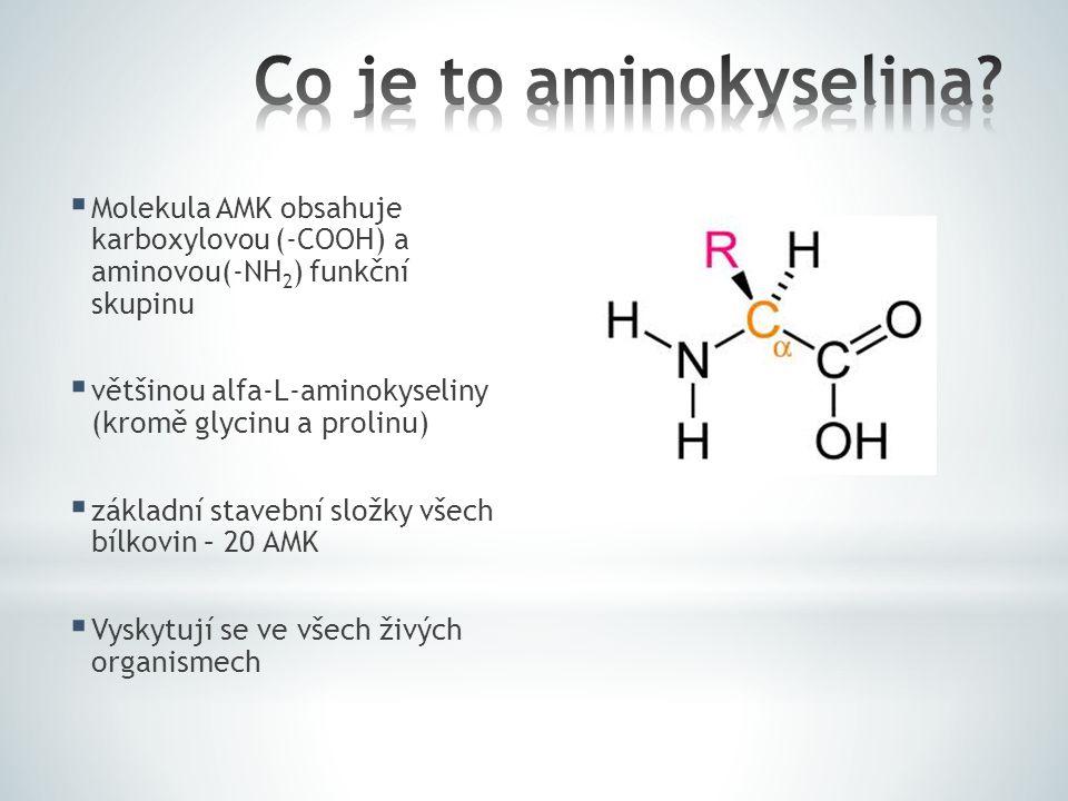  Molekula AMK obsahuje karboxylovou (-COOH) a aminovou(-NH 2 ) funkční skupinu  většinou alfa-L-aminokyseliny (kromě glycinu a prolinu)  základní s