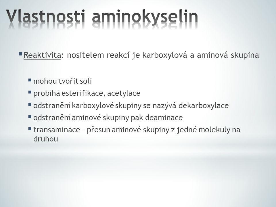  Reaktivita: nositelem reakcí je karboxylová a aminová skupina  mohou tvořit soli  probíhá esterifikace, acetylace  odstranění karboxylové skupiny