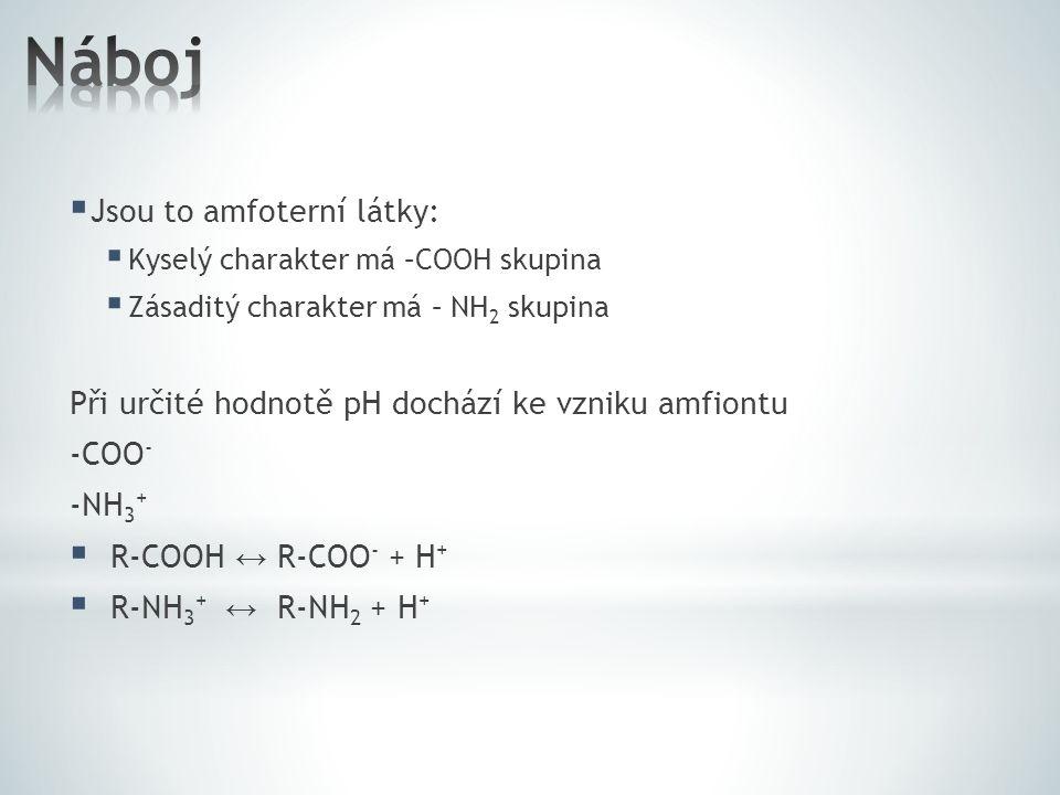  Jsou to amfoterní látky:  Kyselý charakter má –COOH skupina  Zásaditý charakter má – NH 2 skupina Při určité hodnotě pH dochází ke vzniku amfiontu