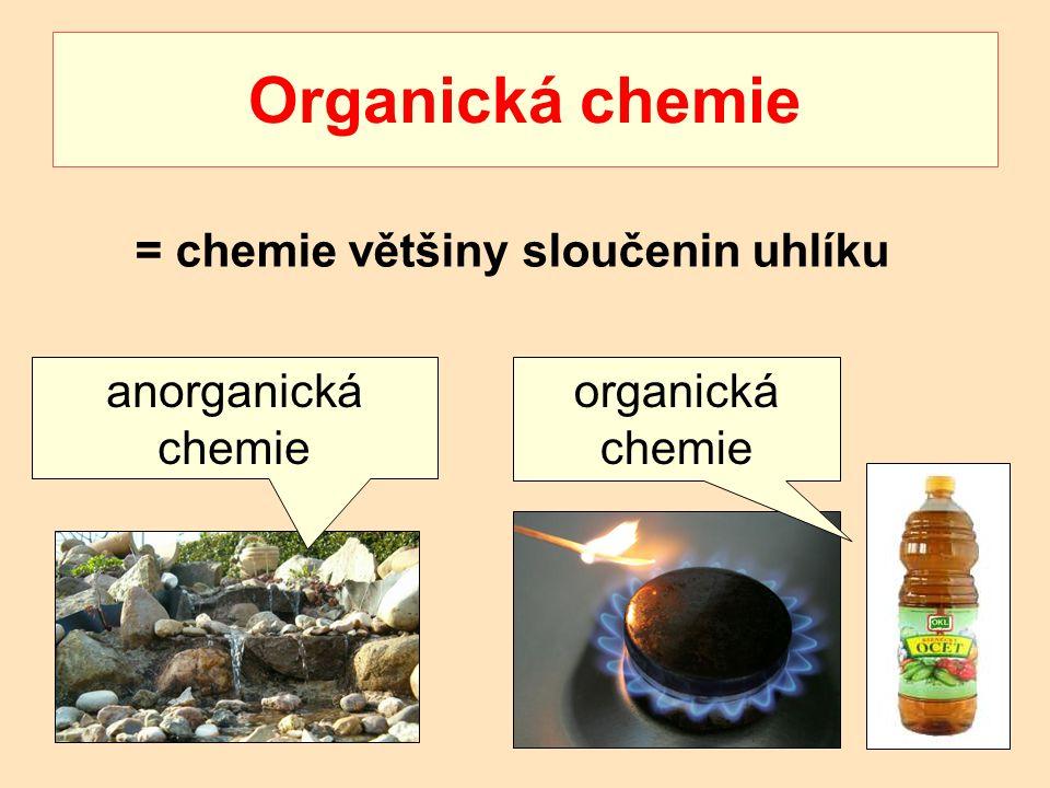 Organická chemie = chemie většiny sloučenin uhlíku anorganická chemie organická chemie