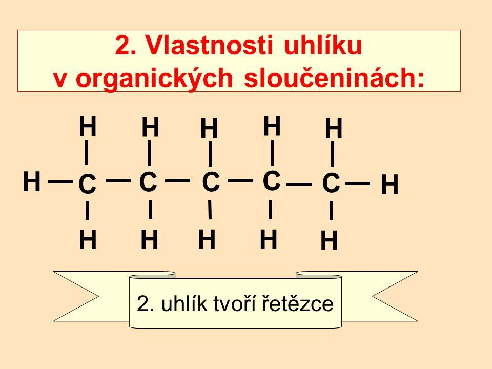 2. Vlastnosti uhlíku v organických sloučeninách: 2. uhlík tvoří řetězce C H H H H CC C C H H H H HH H H
