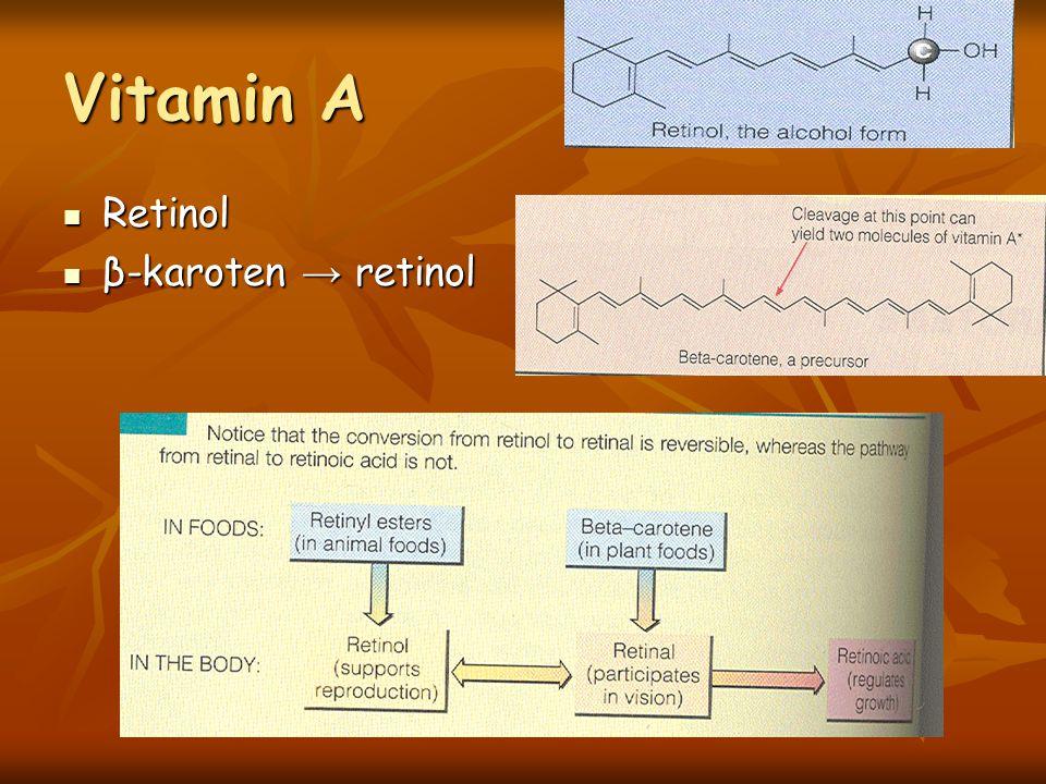 Vitamin A Retinol Retinol β-karoten → retinol β-karoten → retinol