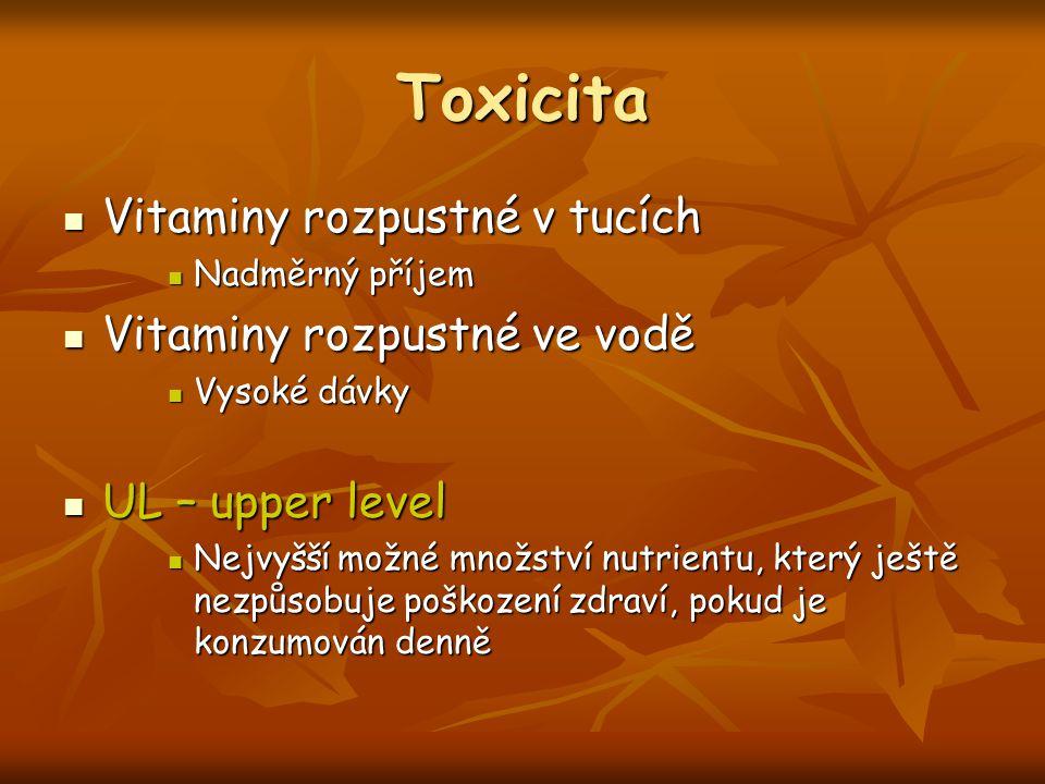 Toxicita Vitaminy rozpustné v tucích Vitaminy rozpustné v tucích Nadměrný příjem Nadměrný příjem Vitaminy rozpustné ve vodě Vitaminy rozpustné ve vodě