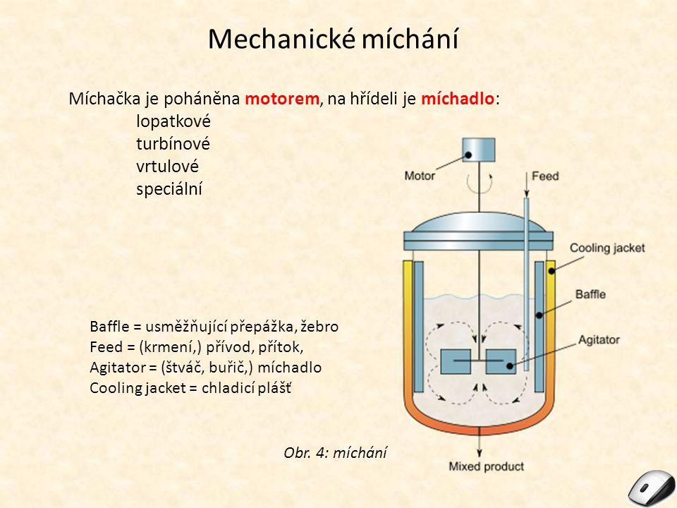Mechanické míchání Míchačka je poháněna motorem, na hřídeli je míchadlo: lopatkové turbínové vrtulové speciální Obr. 4: míchání Baffle = usměžňující p