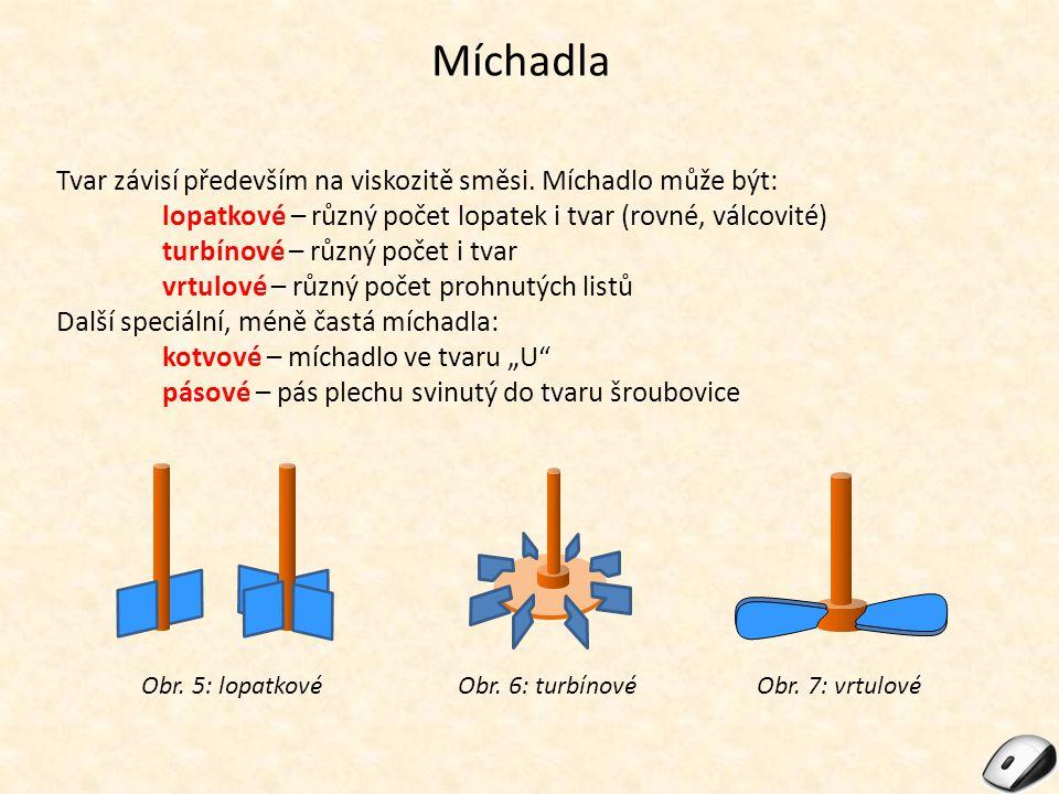 Míchadla Tvar závisí především na viskozitě směsi. Míchadlo může být: lopatkové – různý počet lopatek i tvar (rovné, válcovité) turbínové – různý poče