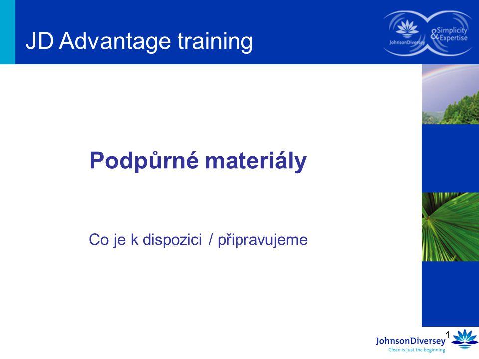 1 Podpůrné materiály Co je k dispozici / připravujeme JD Advantage training
