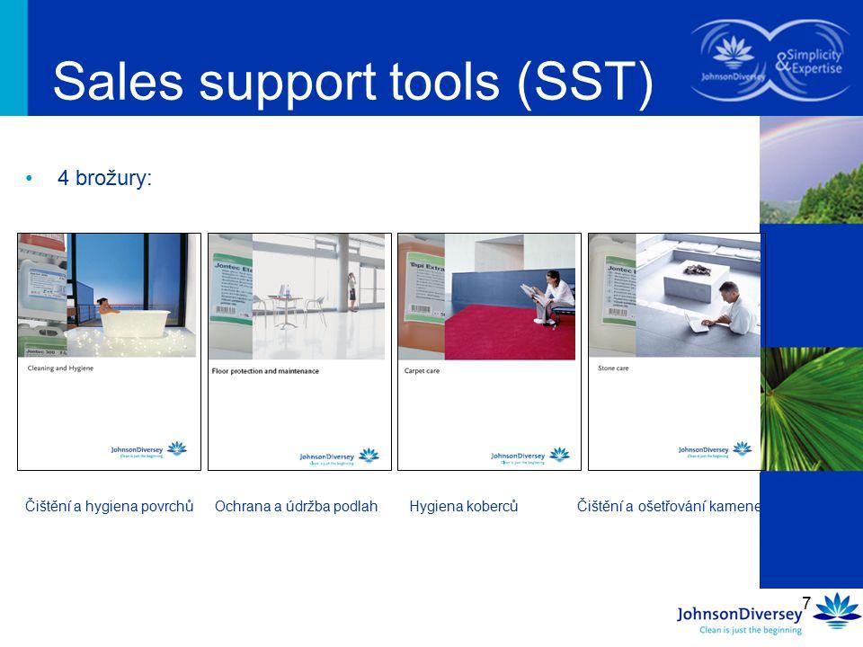 7 4 brožury: Sales support tools (SST) Čištění a hygiena povrchů Ochrana a údržba podlah Hygiena koberců Čištění a ošetřování kamene