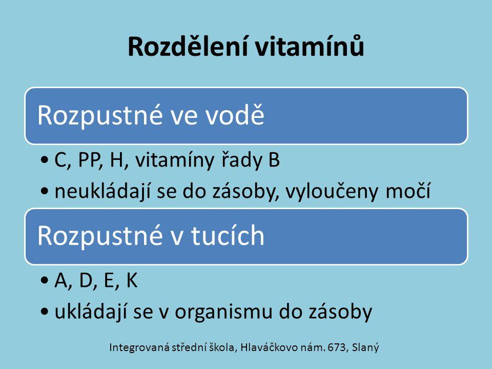 Rozdělení vitamínů Rozpustné ve vodě C, PP, H, vitamíny řady B neukládají se do zásoby, vyloučeny močí Rozpustné v tucích A, D, E, K ukládají se v org