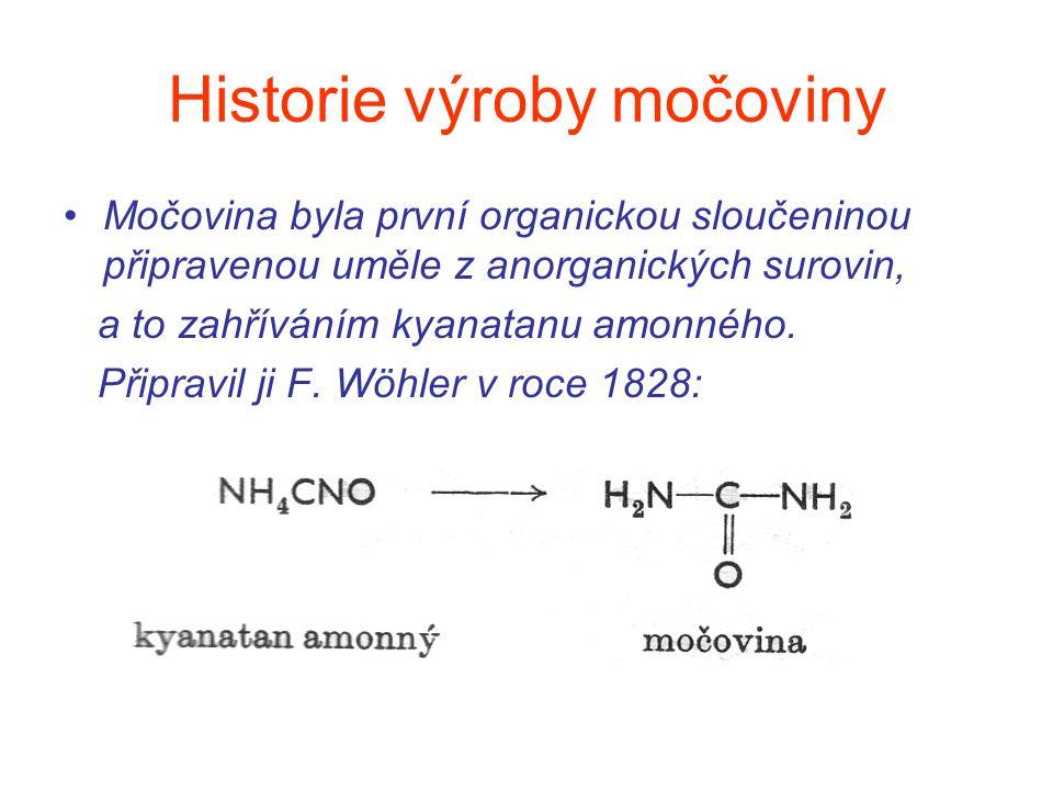 Historie výroby močoviny Močovina byla první organickou sloučeninou připravenou uměle z anorganických surovin, a to zahříváním kyanatanu amonného. Při