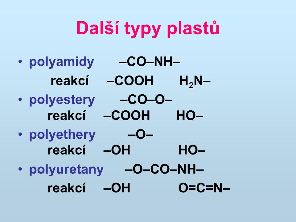 Další typy plastů polyamidy –CO–NH– reakcí –COOH H 2 N– polyestery –CO–O– reakcí –COOH HO– polyethery –O– reakcí –OH HO– polyuretany –O–CO–NH– reakcí –OH O=C=N–