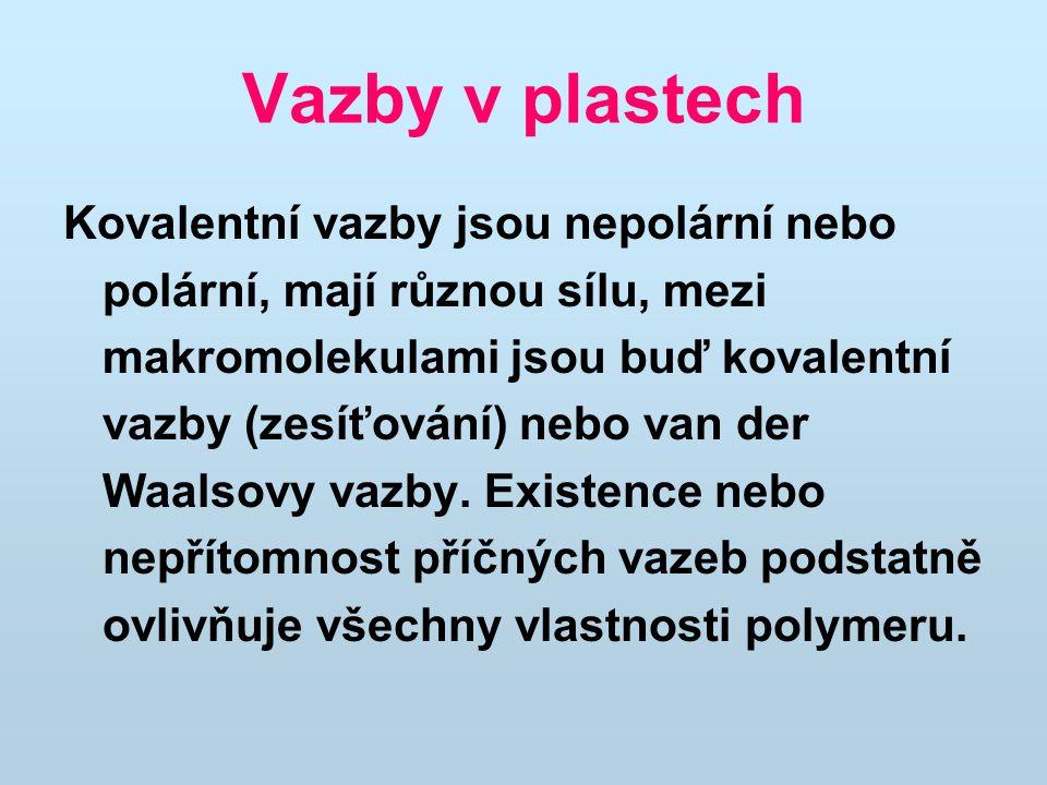 Vazby v plastech Kovalentní vazby jsou nepolární nebo polární, mají různou sílu, mezi makromolekulami jsou buď kovalentní vazby (zesíťování) nebo van der Waalsovy vazby.