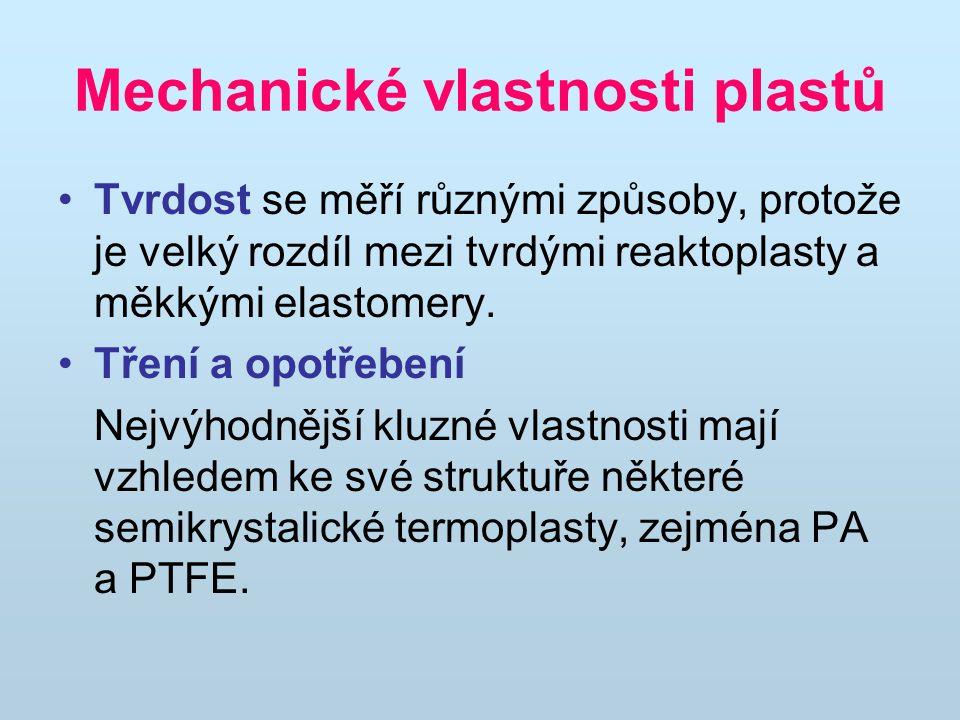 Mechanické vlastnosti plastů Tvrdost se měří různými způsoby, protože je velký rozdíl mezi tvrdými reaktoplasty a měkkými elastomery.